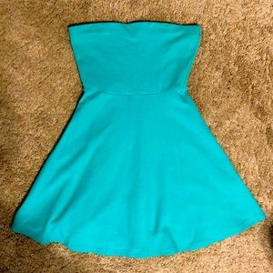 Express Teal Strapless Dress